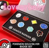 Pokemon Gold Silver Johto Region Gym Badges SET with Badge Box. (not XY Pokeball