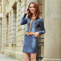 Autumn 2014 Fashion slim V-neck long sleeve Dress Jean pullover  XXL Size Women's  Casual Dresses