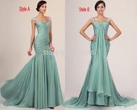 Graceful A-Line Chiffon Evening Dresses 2014 Beading Shoulder Straps Exqusite Pleats Special Occasion Dresses .