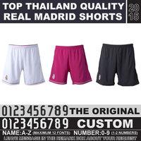 Fast Free Shipping 2015 Real Madrid shorts black top thailand quality football shorts Ronaldo Chicharito camiseta shorts white