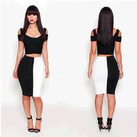 S M L 2014 Brand New Women 2 Piece Bodycon Knee Length Wrapped Party Dress Sexy OL Patchwork Night Club Wear black white