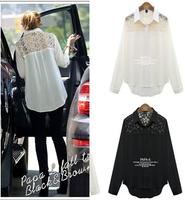 Free Shipping Plus Size 2014 autumn women's Lace Chiffon Blouse long-sleeved Lace stitching loose Chiffon shirt Tops