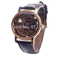 Free Shipping Business Watches For Men Roman Numerals Skeleton Hand-wind Mechanical Men's Analog Wrist Watch-Black+Golden-258102