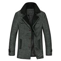 2014 new woolen son coat male Korean men's casual coat lapel Slim woolen long coat