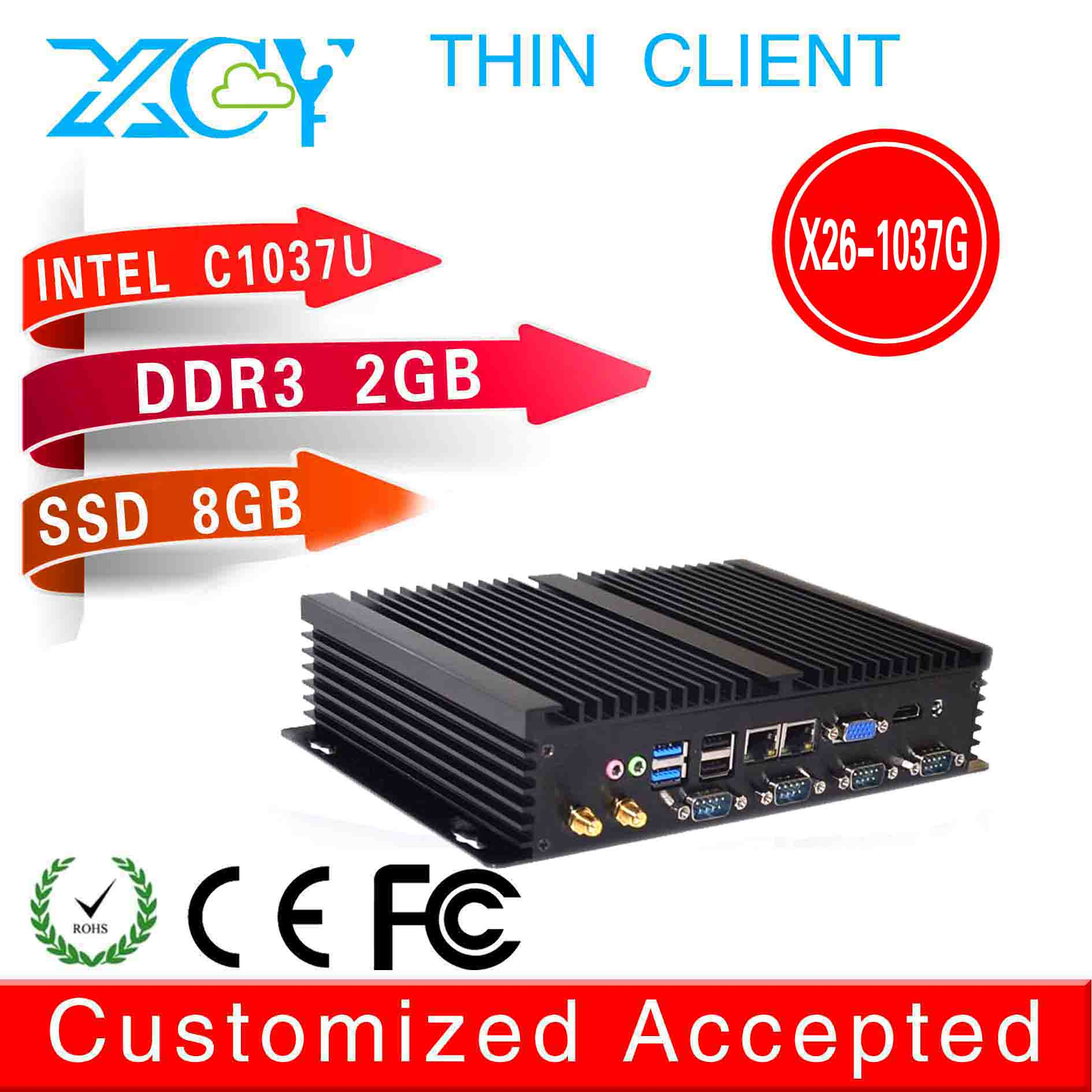high performance high cpu no noise mini computer x26-1037G mini industrial pc intel c1037u network 2g ram 8g ssd fanless desktop(China (Mainland))