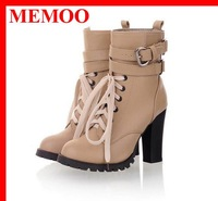 MEMOO 2013 Fashion Women's Ankle Boots Buckle Gladiator Boots Lace Up Women's Autumn Winter Boots WB478