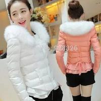 Free shipping ! 2014 new women's winter fur collar cotton short paragraph Slim Down
