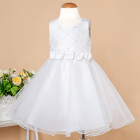 Hot Europe and America Fashion White Rose Wedding Dress Baby Girl Princess Dress Communion Homecoming Party Dress 3-8 year old