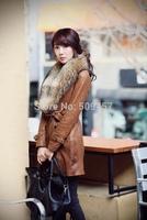 Real raccoon fur collar fur coat long coat Slim detachable fur female jacket winter new leather