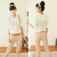 Elegant Women V-neck Loose Casual Spiral Chiffon Long Sleeve Pocket Blouse shirt