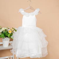New Kids Children's white wedding dress Girl Princess Party Dress Homecoming and Communion Dresses 5 Layer Cake Dress
