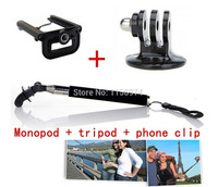 Adjustable rotary extended hand-held tripod extension + three Tripod Adapter compatible with sj4000 and GoPro mobile phone