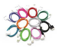 3M  Fabric Braided Cable Micro USB Nylon Data Sync Charging Cords For Apple iPhone 4 4S , For iPod touch 4 , For Nano