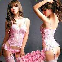 4pcs/set Pink floral See-through Sexy Lingerie lace women sexy langerie Babydoll Sleepwear + Garter+ G-string + stocking