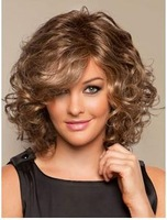 Light Brown Full-Volume Curls Heat-resistant Fiber Medium Lace Wig Free shipping