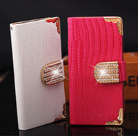 5 Colors Luxury Bling Diamond Rhinestone Flip Wallet Card Holder Magnetic Leather Case For Apple iphone 6 Cover Women Handbag