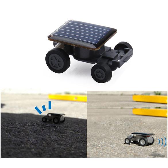 Lovely Mini Solar Power Toy Car Racer The World's Smallest Educational Gadget Children Gift E5M1(China (Mainland))