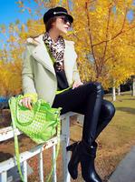 Free Shipping Top Quality Genuine Leather Women Brand Handbag Lady Fashion Rivets Shoulder Messegner Bags 24*20*9 cm
