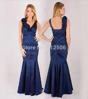 Noble Royal Blue Column Evening Dresses 2014 Shoulder Straps Pick-ups Handmade Flower Women Formal Dresses ..
