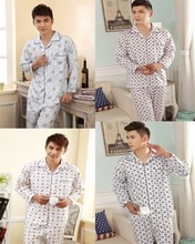 Free shipping New 2014 Spring and autumn men's plaid long sleeve cotton casual Plus size suit home Pajamas set men 18 colors(China (Mainland))