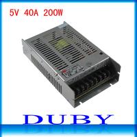 20pcs/lot 5V 40A 200W LED display switching power supply LED power supply 5V 40A 200W transformer 95-265V free fedex