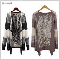 Spring/Winter 2014 Women Knitted Long Cardigan Leisure Irregular Collar Long Sleeve Tops Blouse Jacket Sweater