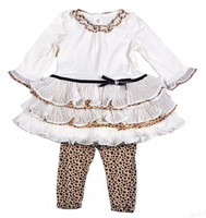 Free shipping 6sets / lot 12~24m baby girl new fashion spring autumn brand long sleeves white formal sets with leopard pattern