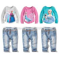 6set/lot kids Frozen clothing set/baby girls Elsa Anna  T-shirt+ lace jeans 2 pcs suits/children princess long sleeve top tees