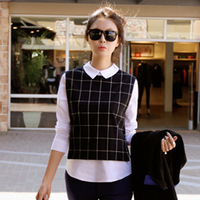 2014 Autumn Winter Women Shirts Preppy Style Contrast Plaid Lapel Long Sleeve Fake Two Piece Shirt Blouse Tops Lady Girls 995530