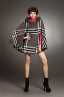 Free Shipping Winter 2014 Classic Plaid Fox Fur Wool Hooded Cape for Women 140916YD01
