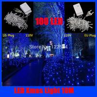 Free shipping 20pcs led string light 10M 100led AC110V/ 220V colorful holiday XMAS lighting waterproof outdoor decoration light