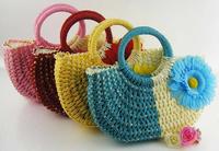 Creative Fashion Autumn 2014 new pastoral flowers cute straw women bags beach bag Korean female bag handbag SJ-27