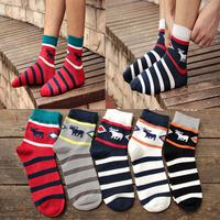 2014 New Hot Good Quality Men/Women Christmas Socks Casual Brand stripe Cotton Cartoon Sock