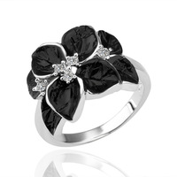 Hot Selling Elegant Vintage Jewelry Fashion Gothic Black Platinum Rings for Women Cheap Rings Elements Austrian Crystal