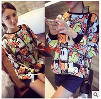 Free Shipping 2014 Korean autumn winter maternity plus size loose cartoon print sweater jacket 1481