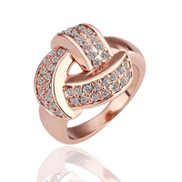 2014 fashion brand crystal ring rose gold plated punk rock engagement rings for women 18k
