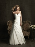 2014Gorgeous Romantic Sweetheart A-line back Zipper with beading organza chapel train White/Ivory long Plus Size Wedding Dresses
