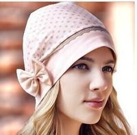 Fashion Korean Cotton Pregnant Women Cap Bow Windproof Maternal Caps Hedging Cap Dot Print 2 Colors Free Shipping