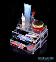 Acrylic Crystal 2 Drawer Cosmetic Case Organizer Lipstick Jewelry Storage Box Makeup Case 29167