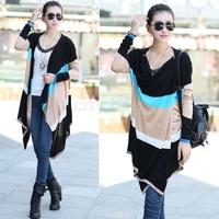 Autumn Women Long Sleeve Rainbow Colorful Stripes Irregular Outerwear Novelty V-neck  Knitted Sweater Cardigan