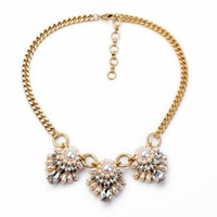 latest fashion women jewelry accessories retro vintage metal chunky statement pearl necklace