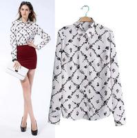 2014 Newest Autumn Fashion Long Sleeve Blouses High Temperament Turn-Down Collar Women Shirts 8 10 12 WCS16415OL