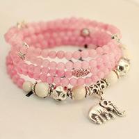Natural rose quartz crystal bracelet female jewelry elephant multilayer fashion wholesale jewelry bracelet Dr. Peach 0266