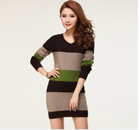 2014 New Fashion Ladies Autumn Winter Sweater Women V-neck Stripe Cashmere Sweater Dress, Large Size Winter Dress,S M L XL 2XL