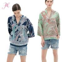 Autumn 2014 Women Blouses & Shirts Long Sleeve V Neck Paisley Print KIMONO Style Chiffon Blouse Big Size