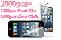 High Qulity Transparent Clear LCD Screen Protector Protective Film Guard For iPhone 5 5S 5G 2000pcs=1000pcs Film+1000pcs Cloth