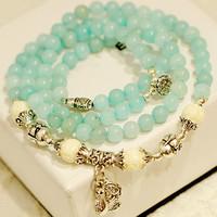 Lucky brave pocketbook natural blue crystal bracelet fashion jewelry bracelets multi layer women men jewelry wholesale 0267