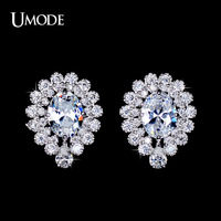 UMODE Peacock Flower 6mm*8mm Oval Cut 1.75ct Cubic Zirconia Cluster Stud Earrings Handcrafted Shining Earrings for Women UE0111