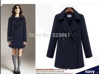2014 women's winter Long Wool clothing Woollen Coat woolen overcoat british style abrigos mujer casual manteau femme jakets
