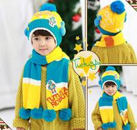 (1set=2pcs) 5sets/lot Fashion children fur hat with scarf baby winter 2pcs set kid warm woolen caps headwear Free shipping